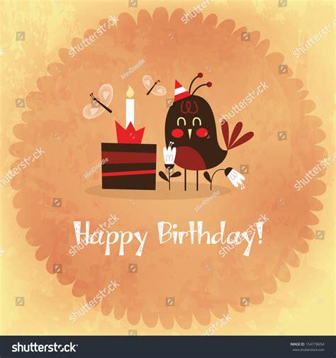 Happy Happy Birthday Cards Vintage Happy Birthday Card Invitation Bird Stock Vector