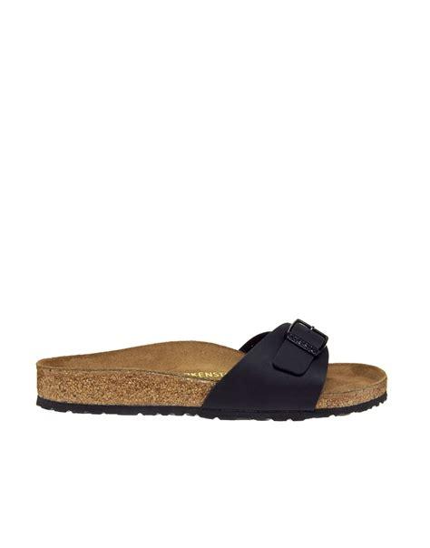 black one sandals lyst birkenstock black madrid flat sandals in blue