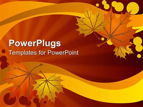 powerpoint template abstract autumn leaves on warm