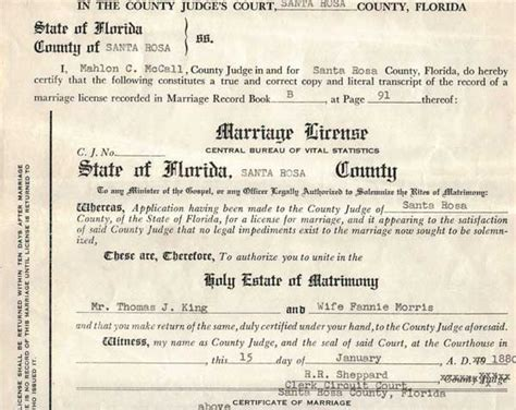 Santa Rosa County Marriage Records County Individual Marriages King Morris Norris
