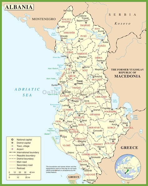 albania map administrative map of albania with districts