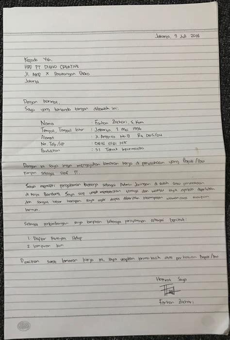 Contoh Lop Lamaran Kerja Tulis Tangan by Contoh Surat Lamaran Kerja Paling Menarik Di 2018
