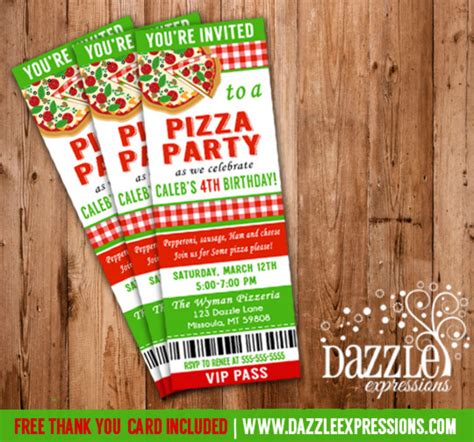 printable pizza tickets printable kids pizza party ticket birthday invitation