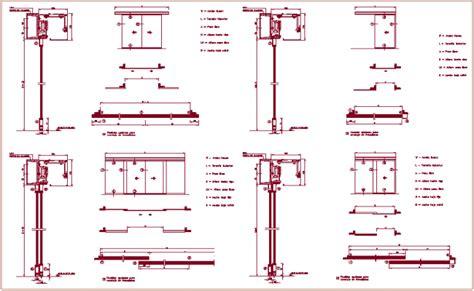 sliding door section dwg sliding door sectional view with mechanism view dwg file