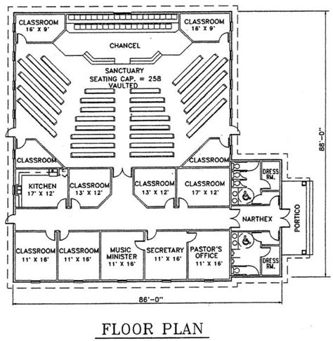 small church floor plans church plan 105 lth steel structures