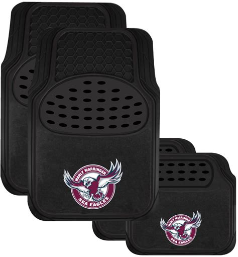 set of 3 manly sea eagles nrl car seat covers steering
