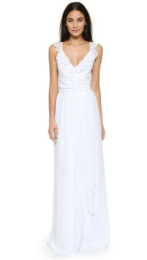 Sale Dresses 100 At Shopbop Part 3 by Joanna August Ruffle Wrap Dress In White Lyst