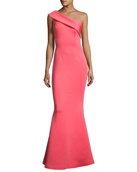 Mermaid Dress Scuba 02 jovani one shoulder scuba mermaid gown watermelon