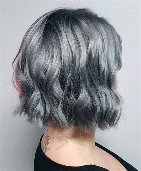 picture of gray wavy bob 20 shades of the grey hair trend wavy bobs roots and bobs