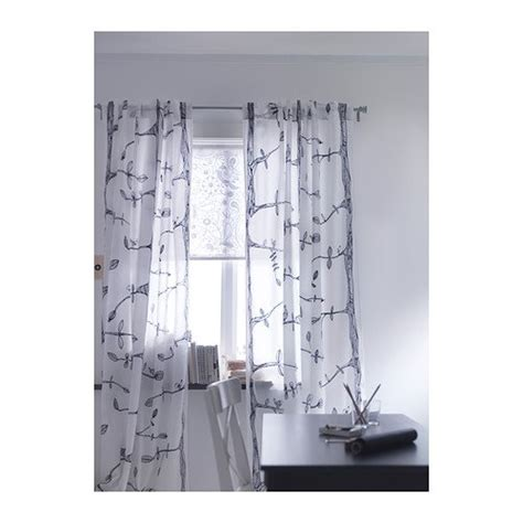 Ikea Tree And Bird Pattern Thin Curtains 1 Pair White