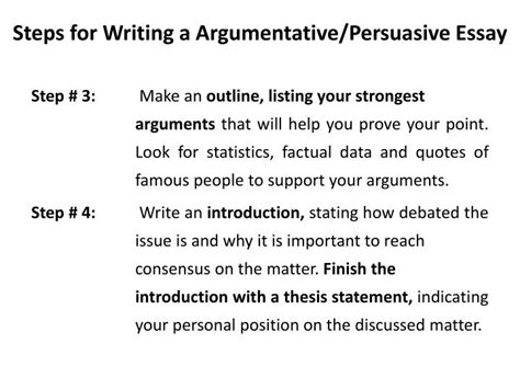 Steps For Essay Writing by Ppt Argumentative Persuasive Essay Powerpoint Presentation Id 2930501