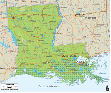 louisiana map usa physical map of louisiana ezilon maps