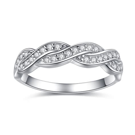 Wedding Rings Infinity Band by S Solid Sterling Silver Aaa Cz Infinity Anniversary