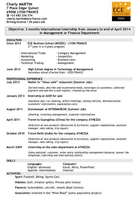 Events Manager Resume Sample by Cv Anglais Pdf Copy