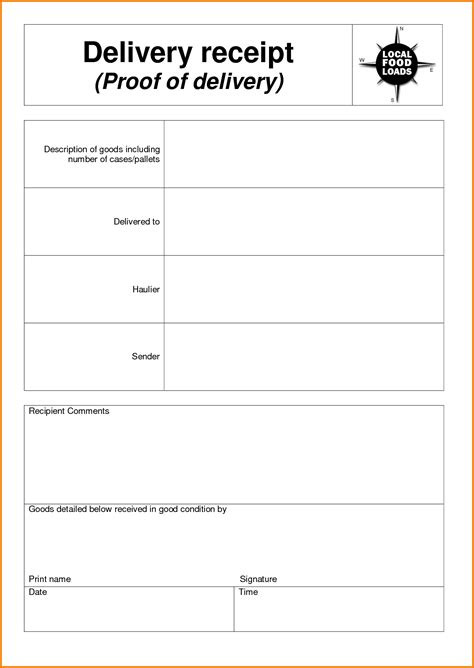 delivery receipt template delivery receipt template authorization letter pdf