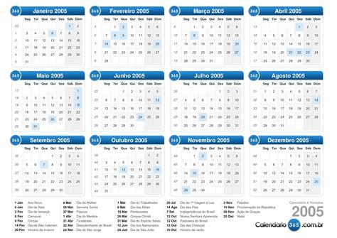Calendario Ano 2005 Calend 225 2005