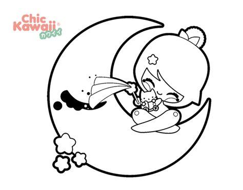 imagenes de kawaii food para colorear dibujo de luna kawaii para colorear dibujos net