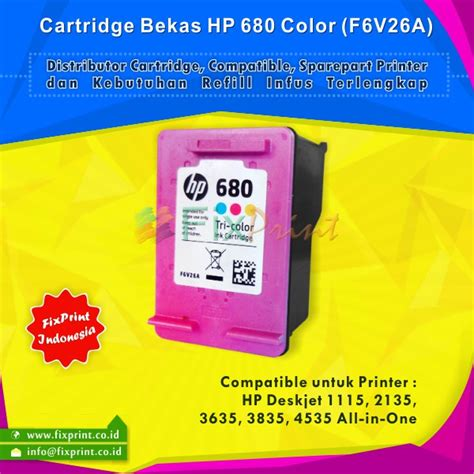 Murah Tinta Hp Original Tri Color 680 F6v26aa Ink Cartridge jual cartridge bekas hp 680 color f6v26aa tinta printer