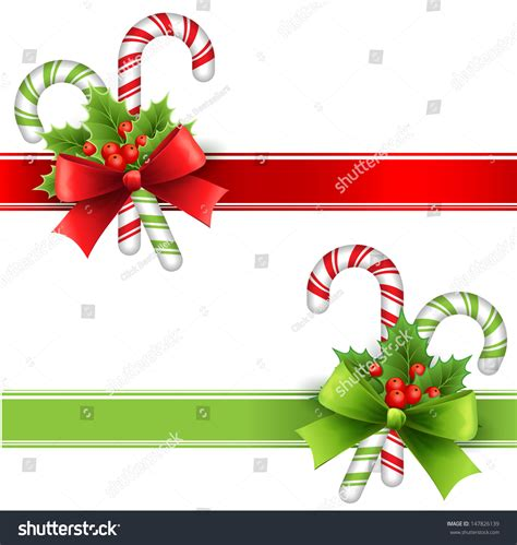christmas holly leavessugar decorations decoration leaves bow stock vector 147826139