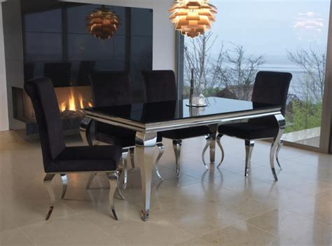 vida living louis 200cm dining table with 6 buy vida living louis black glass top dining set 200cm with 6 chairs cfs uk