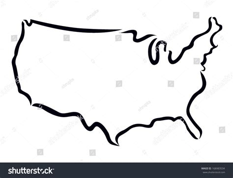 Usa Outline Image by Black Outline Usa Map Stock Vector 168983534