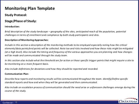 Risk Based Monitoring In Practice Monitoring Plan Template