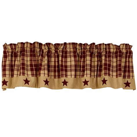 Primitive Farmhouse Star Appliqued Lined Valance, Black, Tan, Burgundy eBay