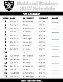 printable oakland raiders schedule 2017 season