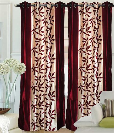 maroon curtains fantasy home decor premium curtain border maroon set of