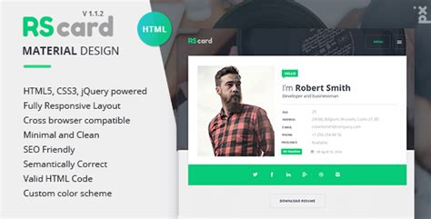 21 professional html css resume templates for free
