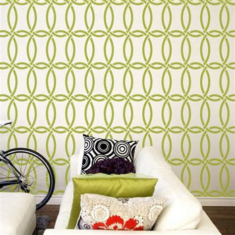 home design studio chain link wall décor modern stencils geometric pattern stencils painting