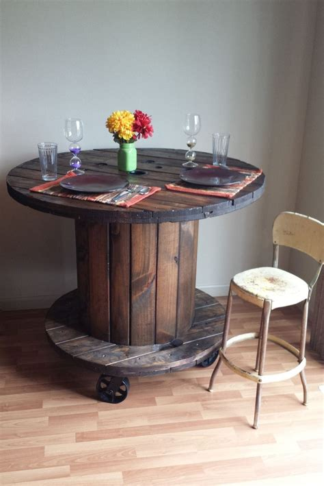 reclaimed wood cable spool pub dining table bar height