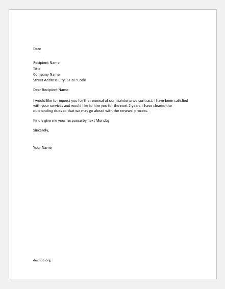 Maintenance Renewal Letter agreement renewal letter sles document hub