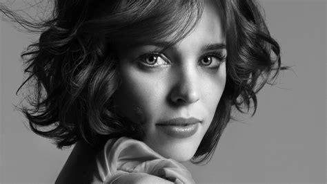 black and white wallpaper of actress rachel mcadams women face actress celebrity