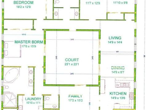 center courtyard house plans house plan with courtyard