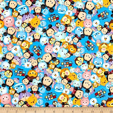 Designer Home Decor Fabric disney tsum tsum packed with logo blue discount designer