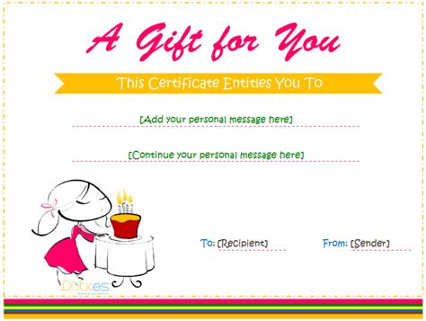 Gift Card Of Your Choice Template by Birthday Gift Certificate Template For