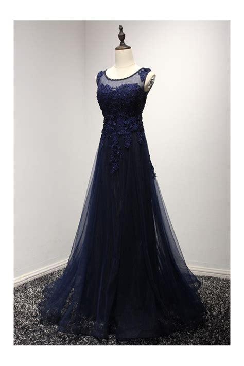 vintage dark navy blue prom dress long  lace beading