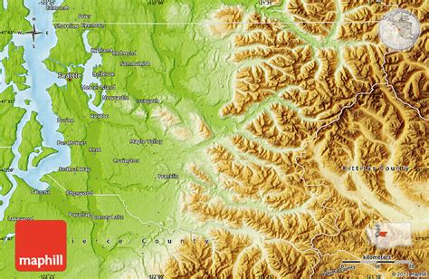 a physical map of washington physical map of king county