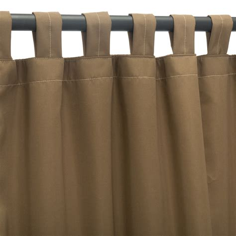 Canvas Cocoa Sunbrella Outdoor Curtains with Tabs   DFOHome