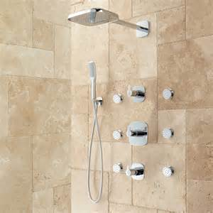 Bath Shower Systems Arin Thermostatic Shower System With Hand Shower Amp 6 Body