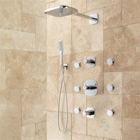 Showers Bathroom Arin Thermostatic Shower System With Shower 6 Sprays Bathroom