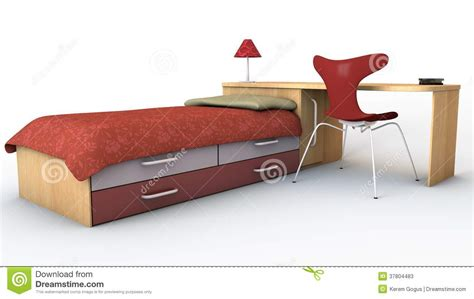 bed and desk set stock photos image 37804483