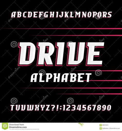 drive font drive alphabet vector font oblique letters and numbers