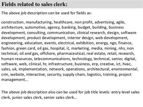 sales description sales clerk description