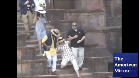 is she okay hillary clinton slips down the stairs while video hillary slips down stairs in india despite two