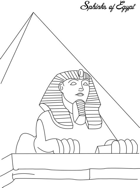 printable egyptian art sphinks of egypt coloring page for kids volta ao mundo