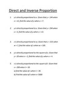 direct amp inverse proportion revision worksheet by