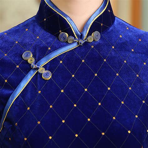 blue pattern velvet gold diamond pattern sapphire blue velvet short chinese