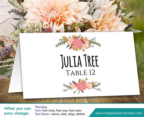 diy printable wedding place card template instant